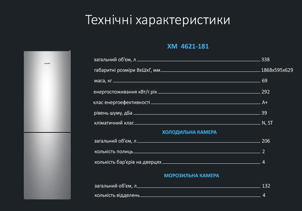 Технічні характеристики холодильник ATLANT ХМ-4621-181