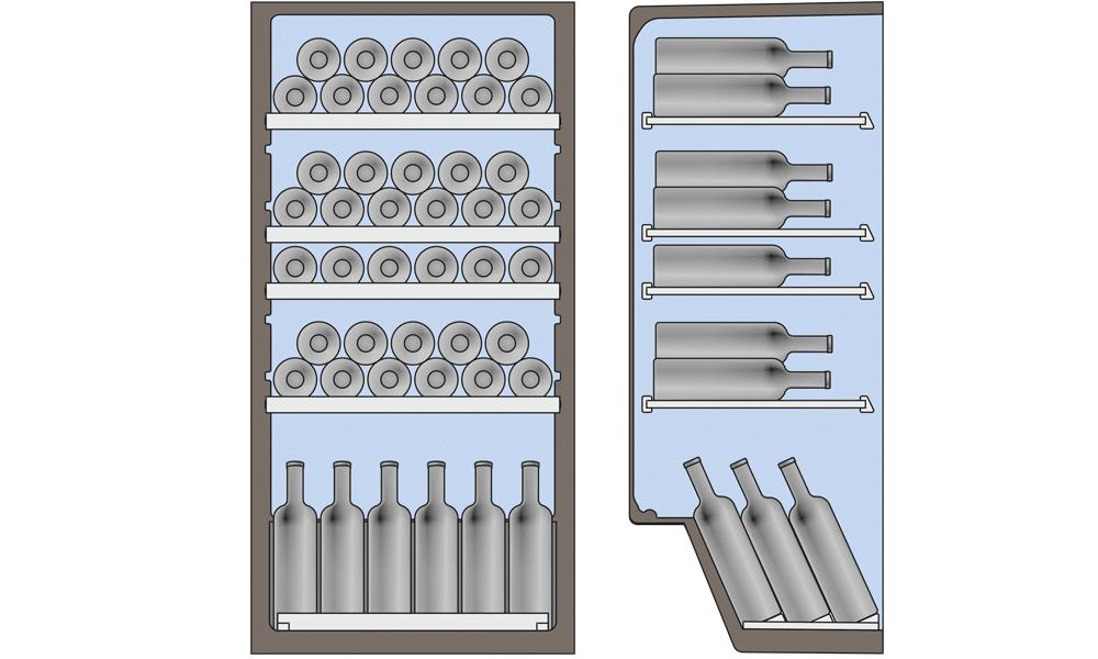 Схема укладання пляшок у винній шафі ATLANT