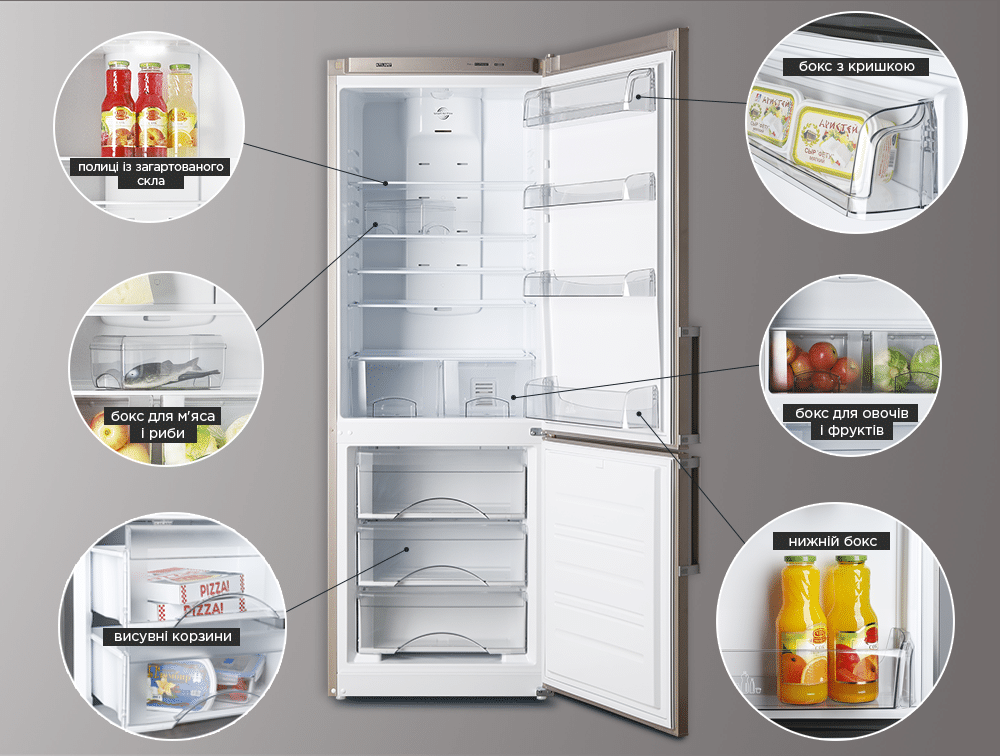 Ергономіка внутрішнього простору холодильнику ATLANT