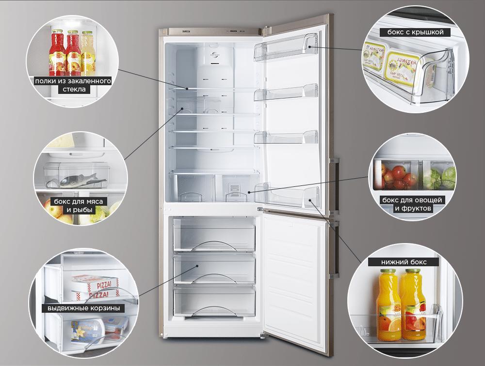 Расположение полок в холодильнике ATLANT