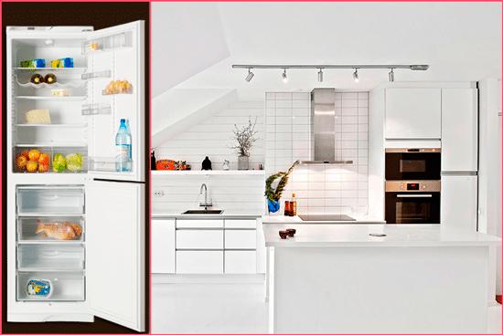 Модель ATLANT МХМ 1845-10 подчеркивает интерьер кухни в стиле минимализм, модерн и эклектика