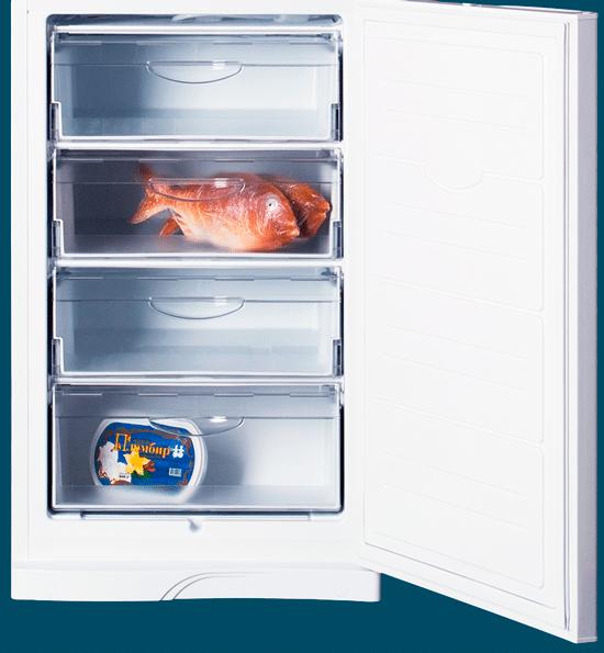 Морозильная камера холодильника ATLANT МХМ 1845-10 на 4 отделения с полезным объемом 129 литров