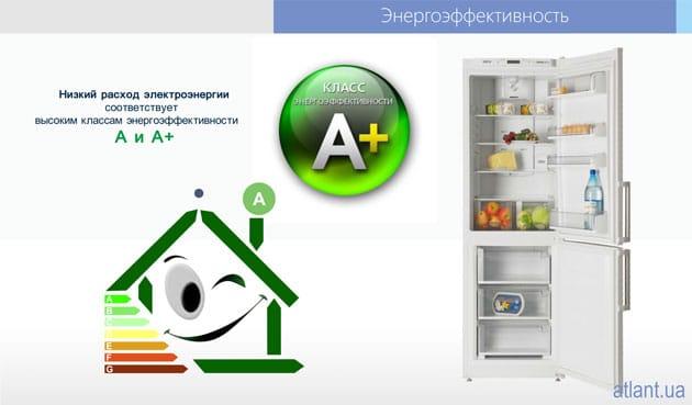 Низкое энергопотребление класса энергоэффективности А+ холодильников ATLANT