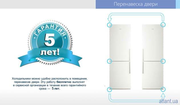 Срок гарантии на холодильники ATLANT серии 4400 «FULL NO FROST» – 5 лет!