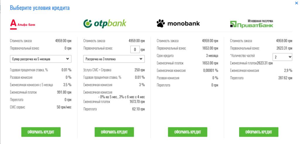 Условия кредита и рассочки на сайте фирменного интернет-магазин ATLANT