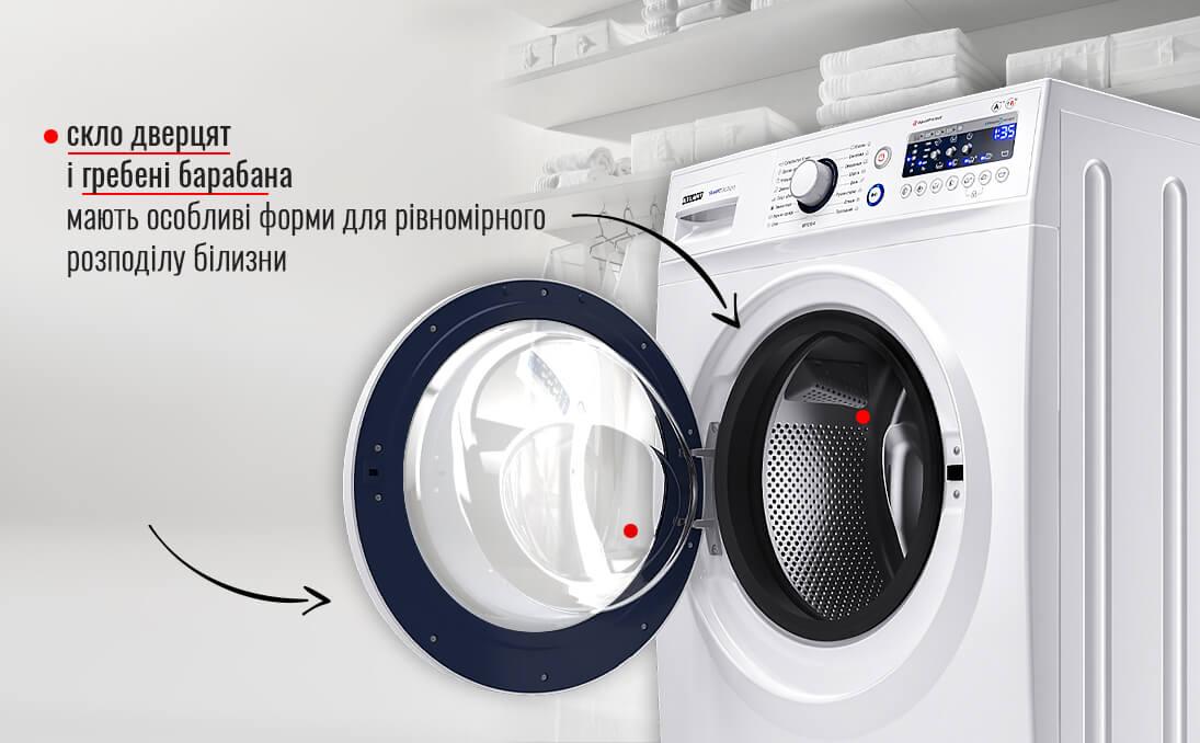 Скло дверцят і гребені барабана в пральних машинах ATLANT мають особливі форми для рівномірного розподілу білизни.